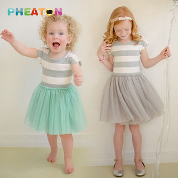 Striped Girl Dress Summer Short Sleeve Tutu Dress Yarn Princess Dress Soft Cotton Girl Clothes Girl Party Dress