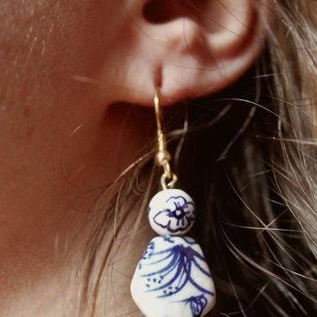 Royal Blue Earrings - Feminine Floral Earrings - Everyday Bead Earrings - Dangle Earrings - Boho Jewelry