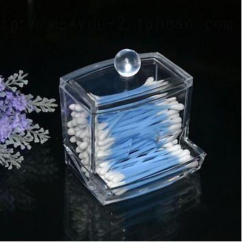 High quality Design Clear Acrylic Cotton Swab Q-tip Storage Holder Box Cosmetic Makeup Case