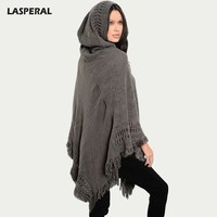 Sleeve Tassel Hooded Cloak Sweater Women Hem Knitting Loose Pullovers Poncho Autumn Winter Sweater Jumper