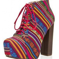 MULTICOLOURED MULTI TRIBAL PRINT LACE UP BOOTIES @ KiwiLook fashion