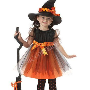 ESBON Halloween Carnival Costume For Kids Witch Cosplay Dress With Hat Bowknot Party Girls Children Performance Disfraces