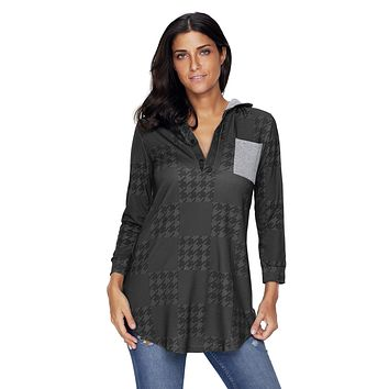 Charcoal Houndstooth Plaid Button V Neck Hoodie