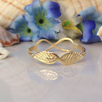 20% off- SALE!! Gold Angel Wings Ring - Stacking Ring - Infinity Ring - Stack Ring - Simple Ring - Everyday Ring - Love Ring