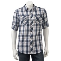 Helix Athletic-Fit Plaid Military Roll-Tab Button-Down Shirt - Men