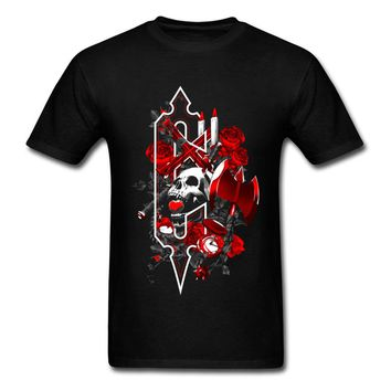 Mens T-Shirt Red Rose Metal Skull 3D Graphic