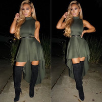 Army Green High-Low Dress