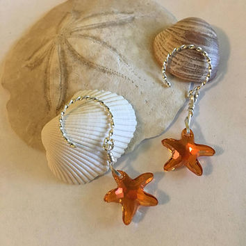 Starfish Earrings Handmade Sterling Silver Twisted Hoop Earrings With Wire Wrapped Orange Swarovski Crystal Sea Stars Ocean Themed Jewelry