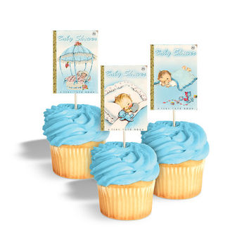 Baby shower cupcake toppers printable / book themed baby shower tags / boy vintage baby shower / Little Golden Book baby shower / rectangles