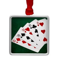 Poker Hands - Four Of A Kind - Tens and Six Metal Ornament