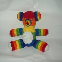Rainbow Teddy Bear, Stuffed Animal, Crochet Amigurumi Bear, Plush Toy