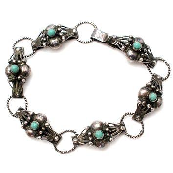 Mexico 925 Green Turquoise Panel Link Bracelet Vintage