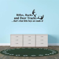 Decal - Vinyl Wall Sticker : Rifles Racks And Deer Tracks ...that's What Little Boys Are Made Of Hunting Hunter Sports Quote Sign Banner Bumper Living Room Bedroom Kitchen Home Decor Picture Art Image Peel & Stick Graphic Mural Design Decoration - Discount