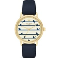 kate spade new york Round Navy Birds on a Wire Dial Metro Watch, 34mm | Bloomingdales's