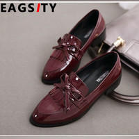 Wine Red Patent Leather pointed toe Women flats Loafers Shoes Slip-On Flat  Tassel office career casual Shoes