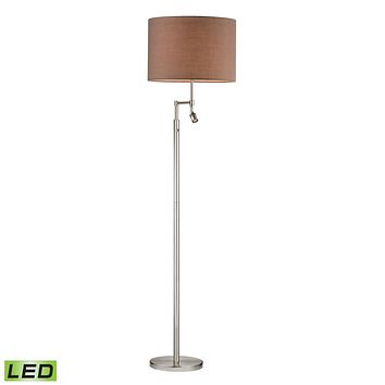 Beaufort LED Floor Lamp in Satin Nickel with Adjustable LED Reading Light Satin Nickel