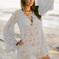 White Crochet Lace Bell Sleeve Cover Up Beach Dress