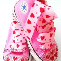 Infant Toddler Pink RED HEARTS Crystal por jewelrybabyblingdara