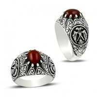 Round agate gemstone with eagle silver mens ring