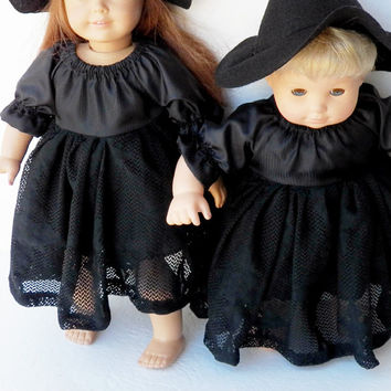 "18 inch & bitty baby clothes, 15"" doll girl twin outfit, adorabledolldesigns handmade, halloween costume black witch hat peasant dress, 2 pc"