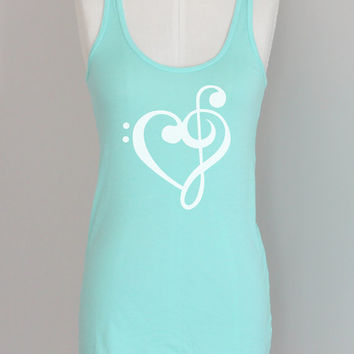 Music Treble Bass Clef Heart Eco Pima Cotton Modal Eco Tank Top
