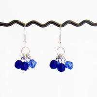 Blue crystal bead earrings, blue white beaded earrings, silver plated