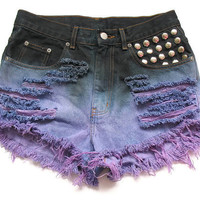 Studded and dip dyed high waisted jean by deathdiscolovesyou