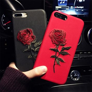 Embroidered Flower Roses Patterned Phone Case For iPhone 6 6s 6Plus 6sPlus 7 7Plus Imitation Leather Cover  Back Fundas Capa