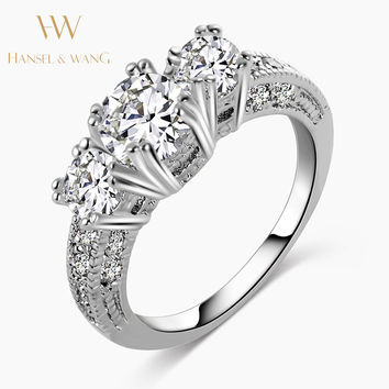 Snowflake Wedding Engagement Ring Stainless Steel Ring CZ Diamond Rings for Women Fashion Rings for Women 2016 Jewelry 2RS08