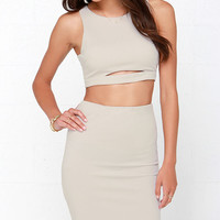 Perfect Pair Light Taupe Two-Piece Dress
