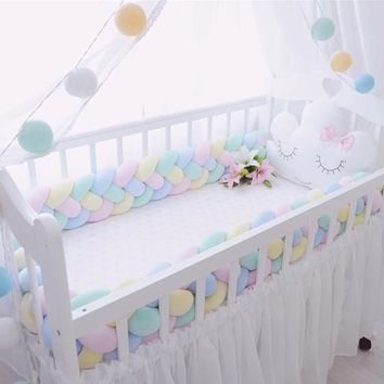 4 Ply Braid Knot Design Baby Bed Bumper Customized 2M/3M Newborn Crib Pad Protection Cot Bumpers Bedding Accessories For Infant