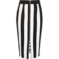 River Island Womens Black and white stripe zip pencil skirt