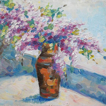 Bouquet of Lilac in Vase Blooming  Flowers Impasto Oil Painting Still Life Custom Contemporary Modern Art Realism Gift for Her Wall Decor