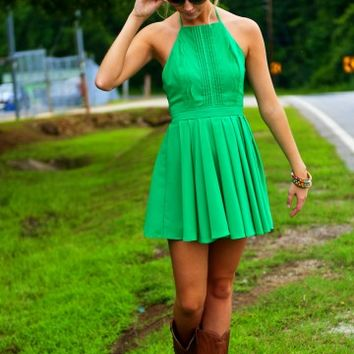 Plie and Thank You Dress-Kelly Green