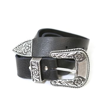 Brave Leather Ltd. Isabeli Leather Belt in Raw Washed Black | Boutique To You