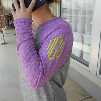 Raglan Tee Long Sleeve Monogram Font Shown DIAMOND