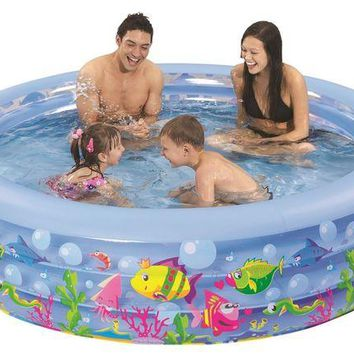 LMFMS9 73' Round Sea Life Themed Inflatable Children's Swimming Pool