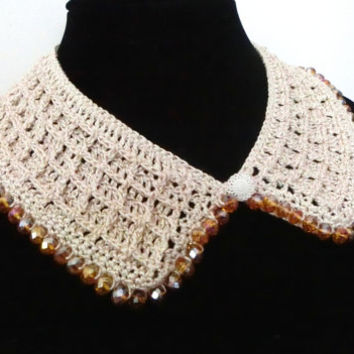 Golden Crochet Collar Necklace, Detached Collar, Beaded Necklace, Gold Ivory Collar, Gift Idea, Mother's Day Gift, Ready for Ship