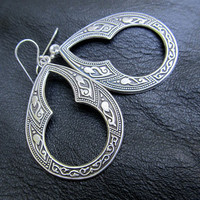 silver hoop earrings Moroccan bohemian earrings ethnic Celtic earrings dangle Silver bohemian jewelry