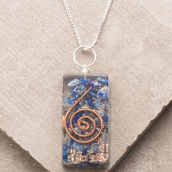 Lapis Orgone Necklace - 24 inch Silver Chain