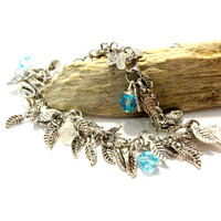 Silver Leaves Boho Bracelet Made with Swarovski Crystal Elements