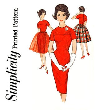1960s Evening Dress Pattern Bust 34 Simplicity 4185 Sheath Dress & Tie On Overskirt Jewel Neck Kimono Sleeves Womens Vintage Sewing Patterns