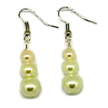 Yellow Triple Glass Pearl Beaded Earrings