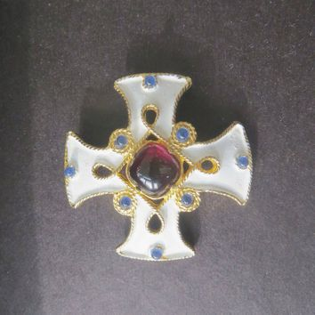 Maltese Cross Brooch, Malta Cross Pin, Signed Castlecliff, Gripoix Glass, Vintage Heraldic Cross, Cross Jewelry