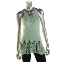 Catherine Malandrino Womens Ramatuelle Crochet Trim A-Line Knit Top