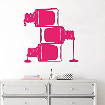 Wall Decal Nail Polish Manicure Vinyl Sticker Decals Beauty Salon Nails Varnish Hands Fashion Cosmetic Hairdressing Girl Bedroom Decor NV108 (17x17)