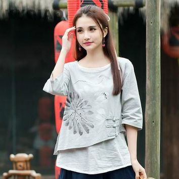 KYQIAO 2017 Women Mexico style ethnic half sleeve o neck handmade frog grey blouse shirt top blusa Traditional Chinese clothing