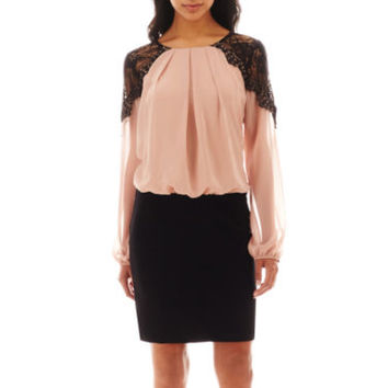 jcpenney | Bisou Bisou® Long-Sleeve Lace-Shoulder Blouson Dress