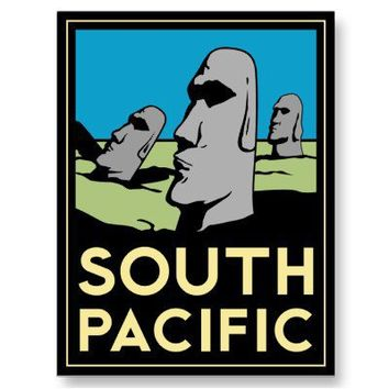 South Pacific Art Deco Travel Poster Postcards from Zazzle.com