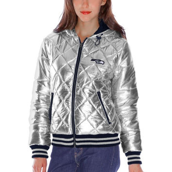 Seattle Seahawks Women's Extra Pointed Quilted Jacket – Silver